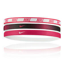 NIKE PRINTED HAIRBANDS 3PK WHITE/BLACK/RUSH PINK OSFM